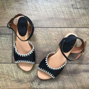 Anthro Pina2 Black Leather Open-toe Espadrilles